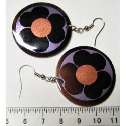 Kolečko 35mm s květinkou - Náušnice, malovaná perleť