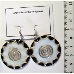 Kolečko 35mm se spirálkou - Náušnice, malovaná perleť