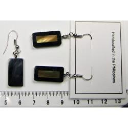 Náušnice - tmavý obdélníček vykládaný perletí