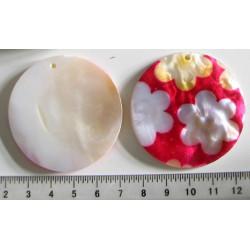 Perleťové kolečko s květmi, 5cm