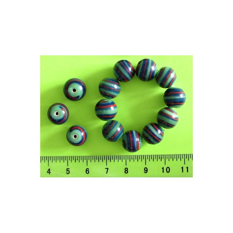 Kulička 11mm, zelená s proužky, 10ks