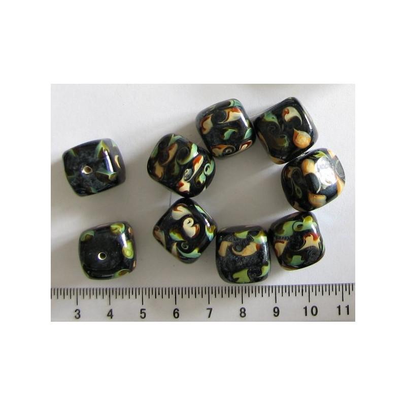 Kostka černá+zeleno-béžová, 15mm / 5ks