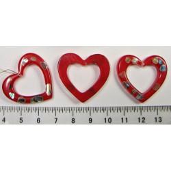 Srdíčko červené s kouskami perletě