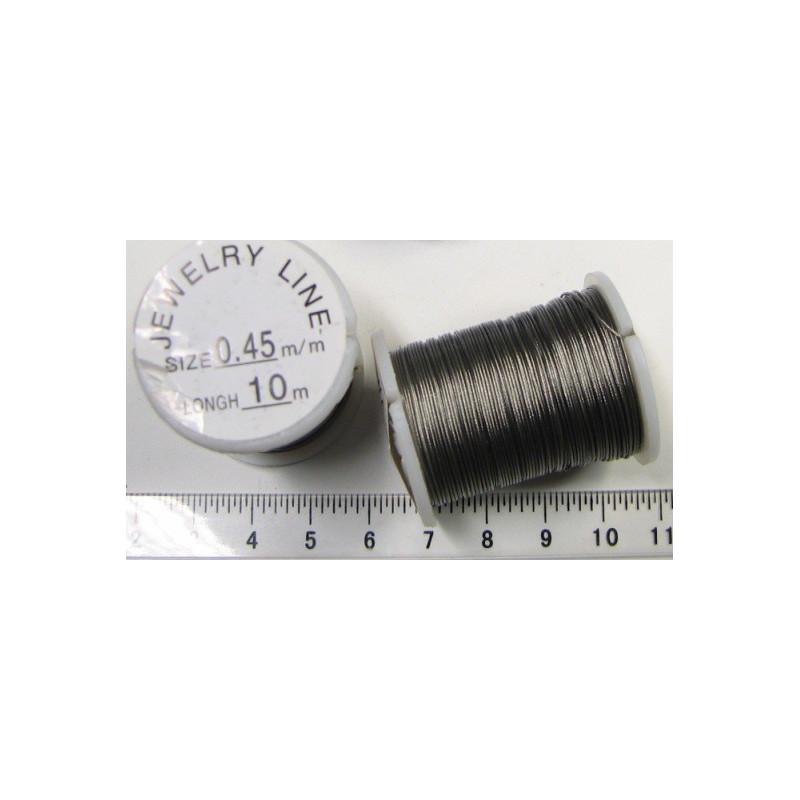 Bižutérní lanko 0,45mm, šedé, 10m