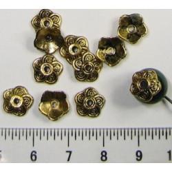 Kovový kaplík 9mm, barva starozlatá, cena za 10ks