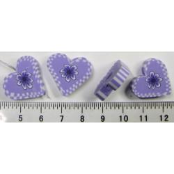 Srdíčko - fialové, cena za 4ks