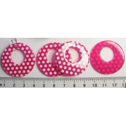 Růžové puntikované kolečko 35mm, cena za 1ks