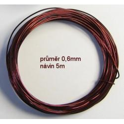 Měděný lakovaný drát 0,6mm, návin 5m