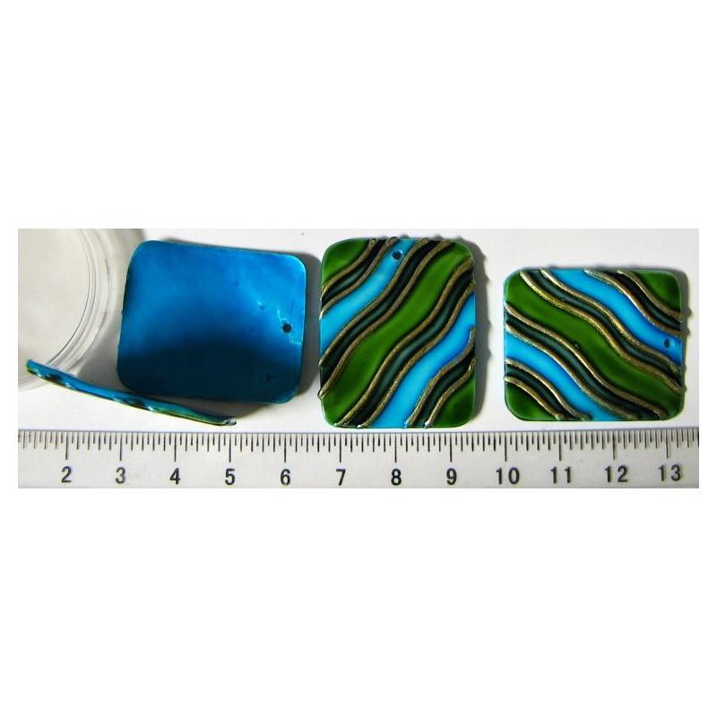Perleťový přívěsek - 28x33mm, zeleno-mpdrý