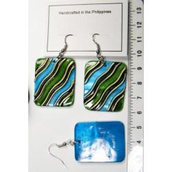 Perleťové náušničky - zeleno-modré