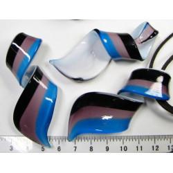 Skleněný zatočený přívěsek  modro-fialkovo-černý