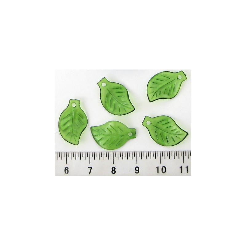 Plastový lísteček 20x12,5mm, zelený, cena za 20ks