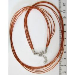 Náhrdelníková šňůrka hnědá, 44cm + 5cm prodluž. řetízek